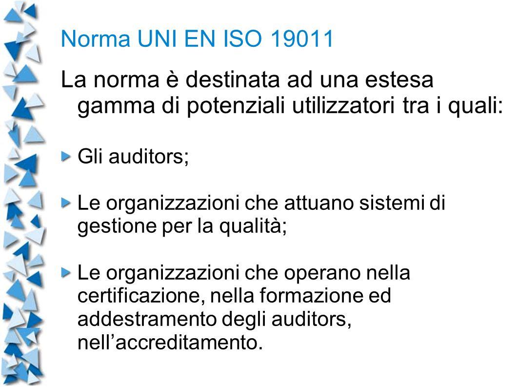 Norma UNI EN ISO 19011 La norma è destinata ad una estesa gamma di potenziali utilizzatori tra i quali: Gli auditors; Le organizzazioni che attuano sistemi di gestione per la qualità; Le organizzazioni che operano nella certificazione, nella formazione ed addestramento degli auditors, nellaccreditamento.