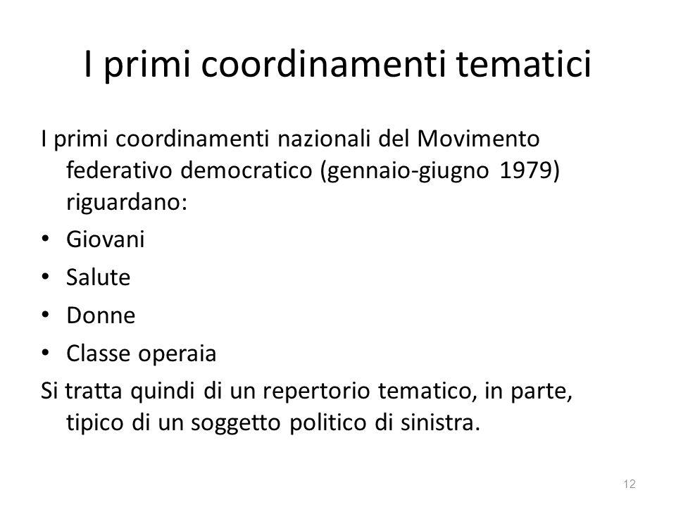 I primi coordinamenti tematici I primi coordinamenti nazionali del Movimento federativo democratico (gennaio-giugno 1979) riguardano: Giovani Salute D