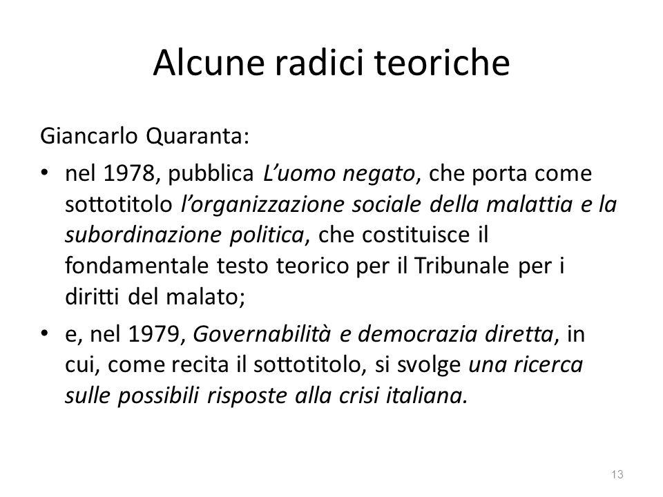 Alcune radici teoriche Giancarlo Quaranta: nel 1978, pubblica Luomo negato, che porta come sottotitolo lorganizzazione sociale della malattia e la sub