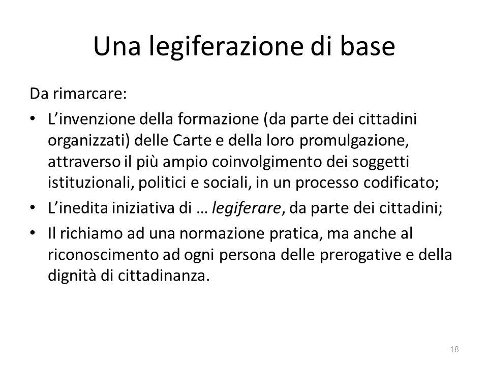 Una legiferazione di base Da rimarcare: Linvenzione della formazione (da parte dei cittadini organizzati) delle Carte e della loro promulgazione, attr