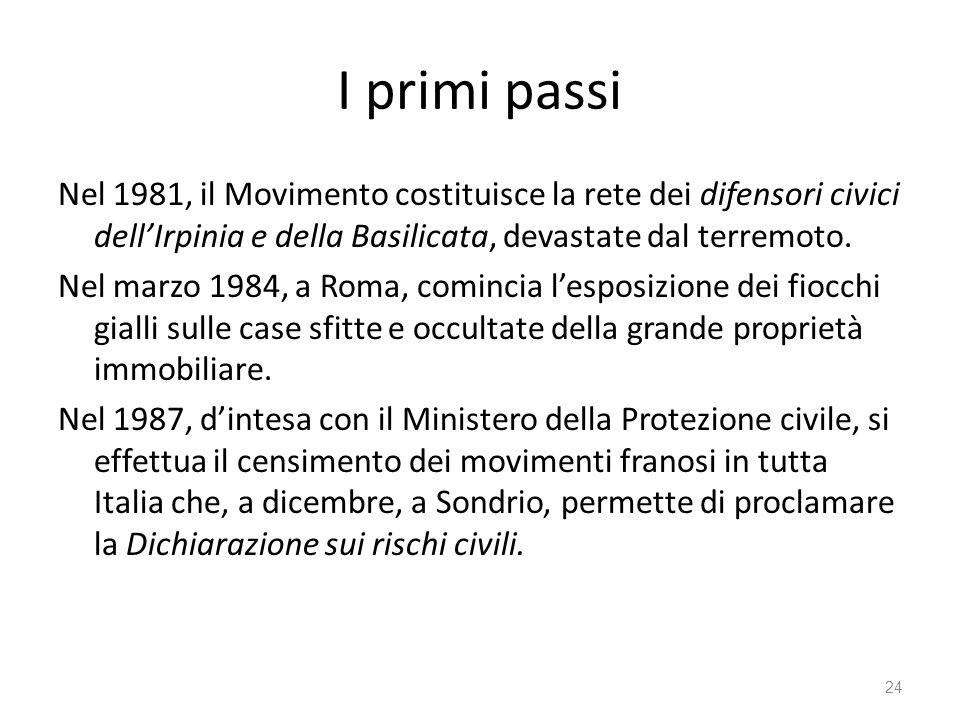 I primi passi Nel 1981, il Movimento costituisce la rete dei difensori civici dellIrpinia e della Basilicata, devastate dal terremoto. Nel marzo 1984,