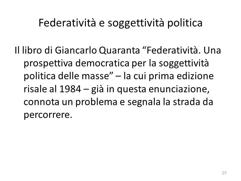 Federatività e soggettività politica Il libro di Giancarlo Quaranta Federatività. Una prospettiva democratica per la soggettività politica delle masse