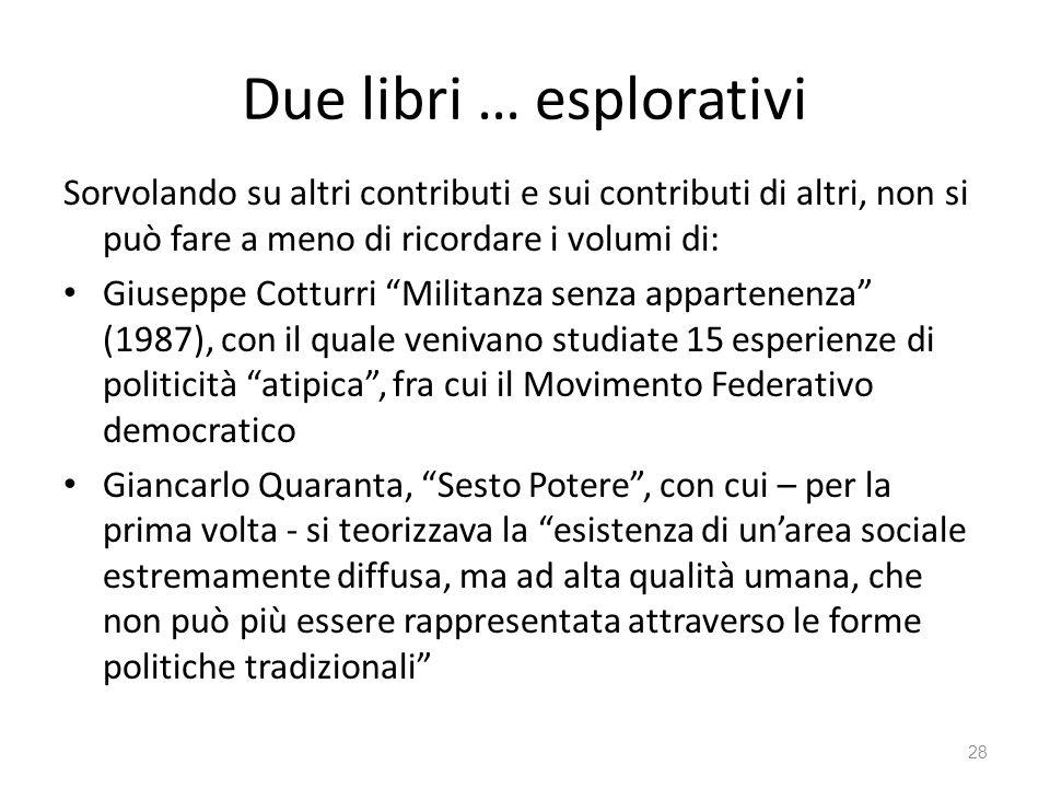 Due libri … esplorativi Sorvolando su altri contributi e sui contributi di altri, non si può fare a meno di ricordare i volumi di: Giuseppe Cotturri M