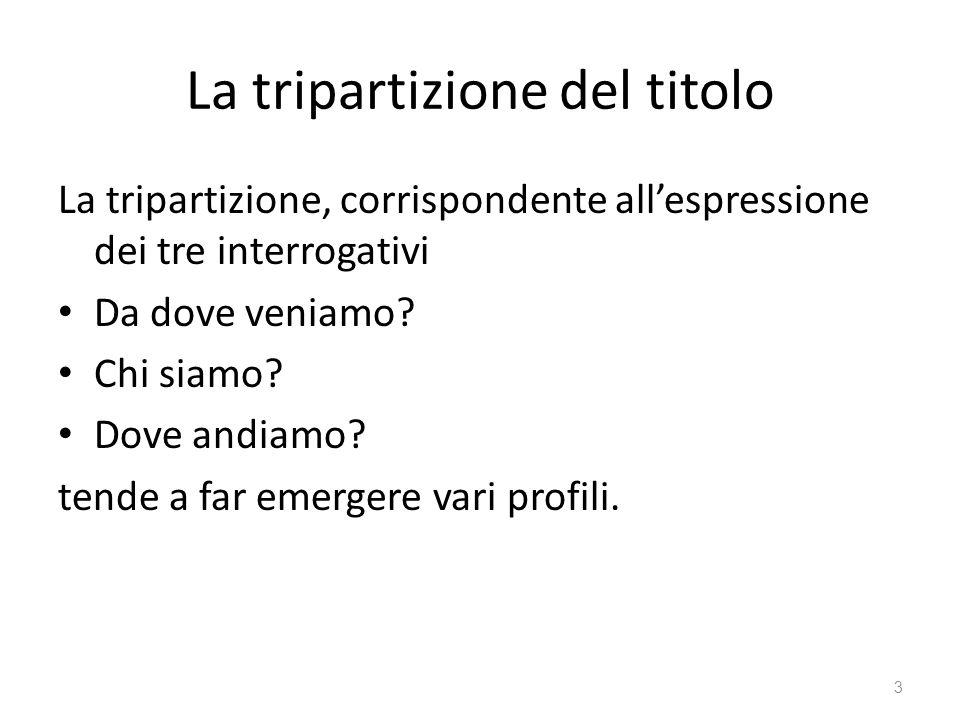 La tripartizione del titolo La tripartizione, corrispondente allespressione dei tre interrogativi Da dove veniamo? Chi siamo? Dove andiamo? tende a fa