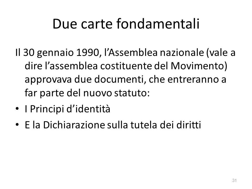 Due carte fondamentali Il 30 gennaio 1990, lAssemblea nazionale (vale a dire lassemblea costituente del Movimento) approvava due documenti, che entrer
