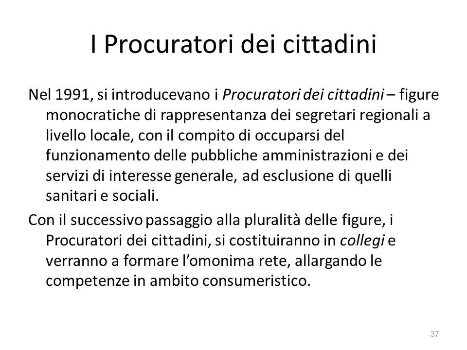 I Procuratori dei cittadini Nel 1991, si introducevano i Procuratori dei cittadini – figure monocratiche di rappresentanza dei segretari regionali a l