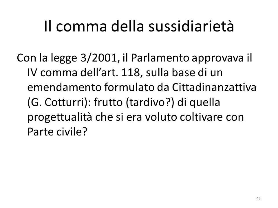 Il comma della sussidiarietà Con la legge 3/2001, il Parlamento approvava il IV comma dellart. 118, sulla base di un emendamento formulato da Cittadin