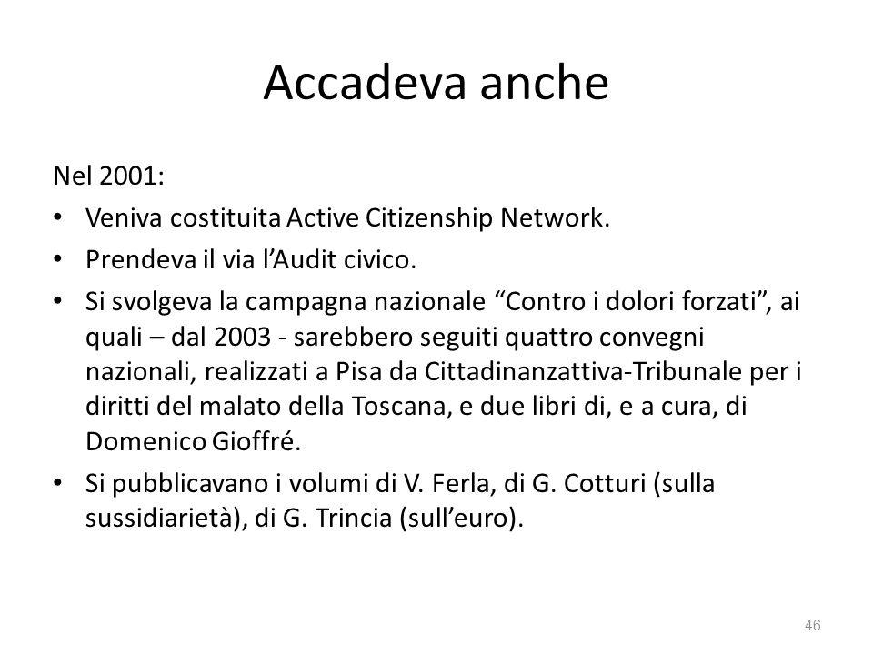 Accadeva anche Nel 2001: Veniva costituita Active Citizenship Network. Prendeva il via lAudit civico. Si svolgeva la campagna nazionale Contro i dolor