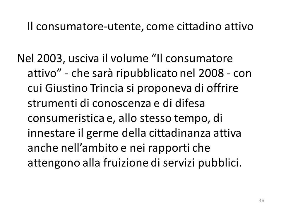 Il consumatore-utente, come cittadino attivo Nel 2003, usciva il volume Il consumatore attivo - che sarà ripubblicato nel 2008 - con cui Giustino Trin