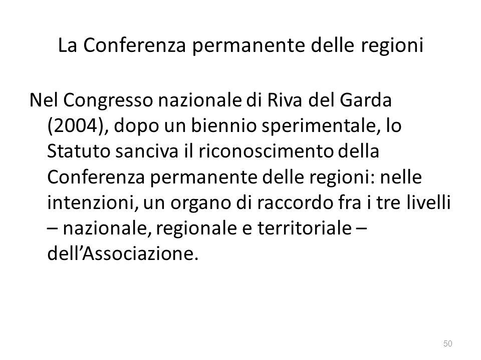 La Conferenza permanente delle regioni Nel Congresso nazionale di Riva del Garda (2004), dopo un biennio sperimentale, lo Statuto sanciva il riconosci
