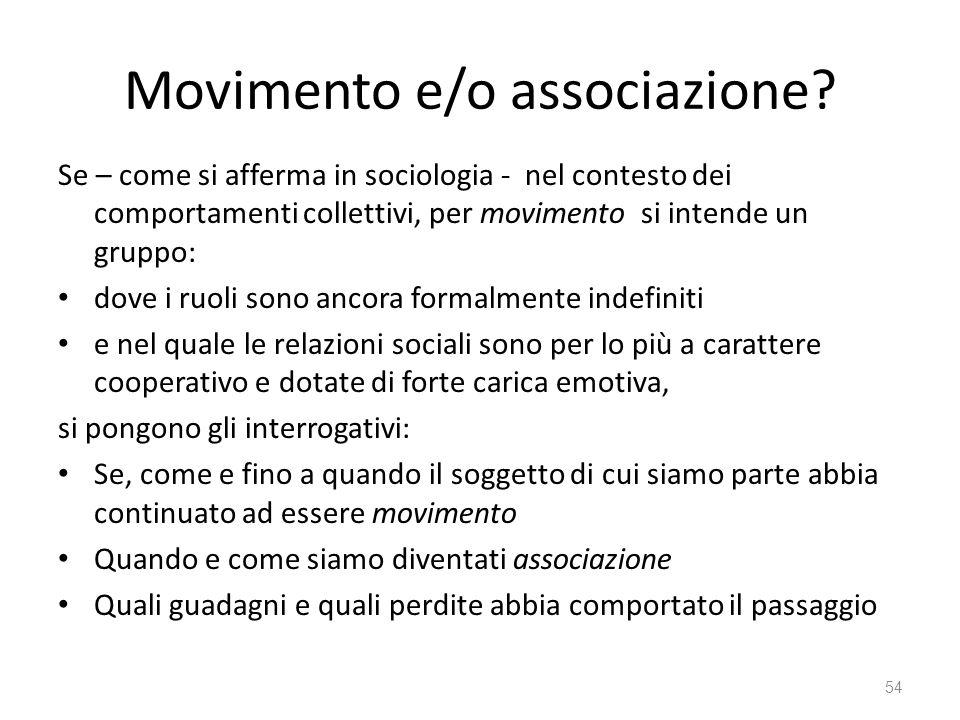 Movimento e/o associazione? Se – come si afferma in sociologia - nel contesto dei comportamenti collettivi, per movimento si intende un gruppo: dove i