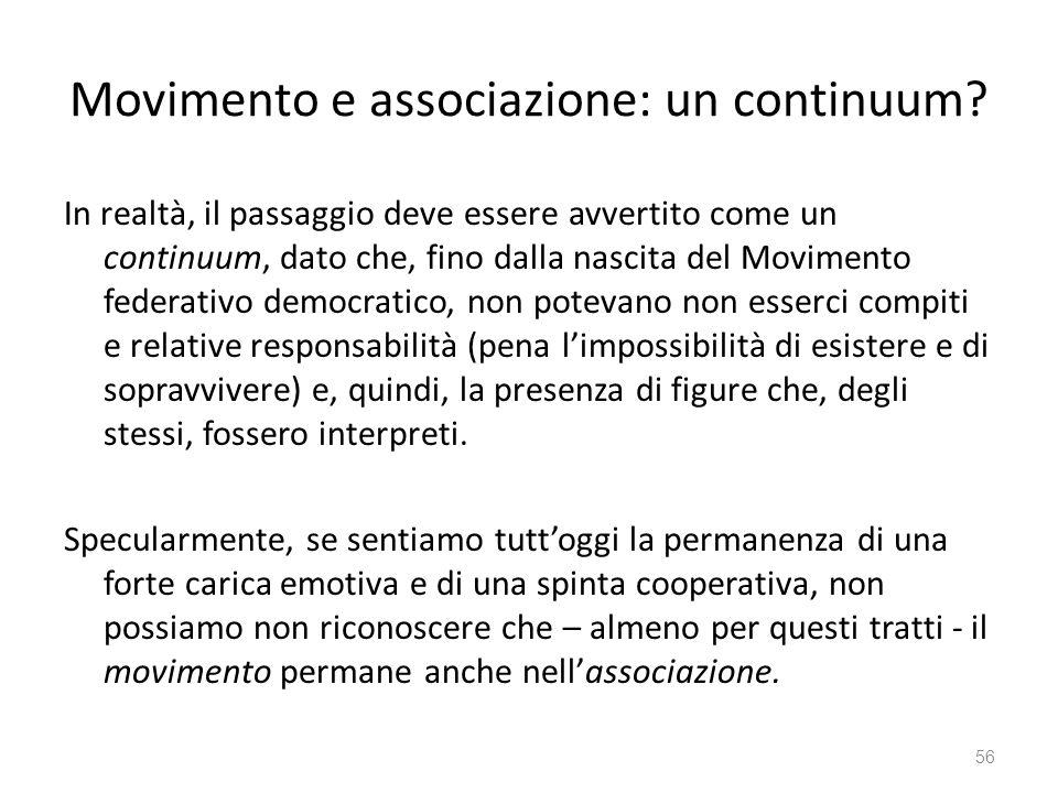 Movimento e associazione: un continuum? In realtà, il passaggio deve essere avvertito come un continuum, dato che, fino dalla nascita del Movimento fe