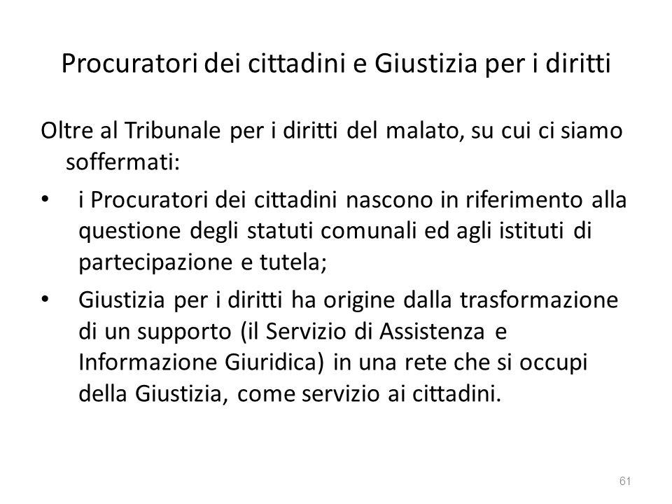 Procuratori dei cittadini e Giustizia per i diritti Oltre al Tribunale per i diritti del malato, su cui ci siamo soffermati: i Procuratori dei cittadi