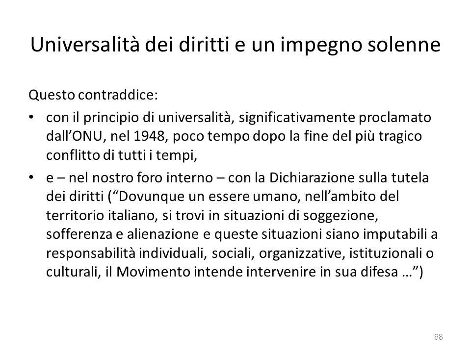 Universalità dei diritti e un impegno solenne Questo contraddice: con il principio di universalità, significativamente proclamato dallONU, nel 1948, p