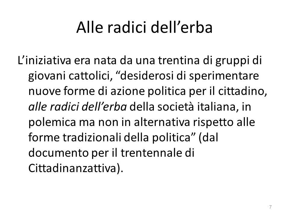 Alle radici dellerba Liniziativa era nata da una trentina di gruppi di giovani cattolici, desiderosi di sperimentare nuove forme di azione politica pe
