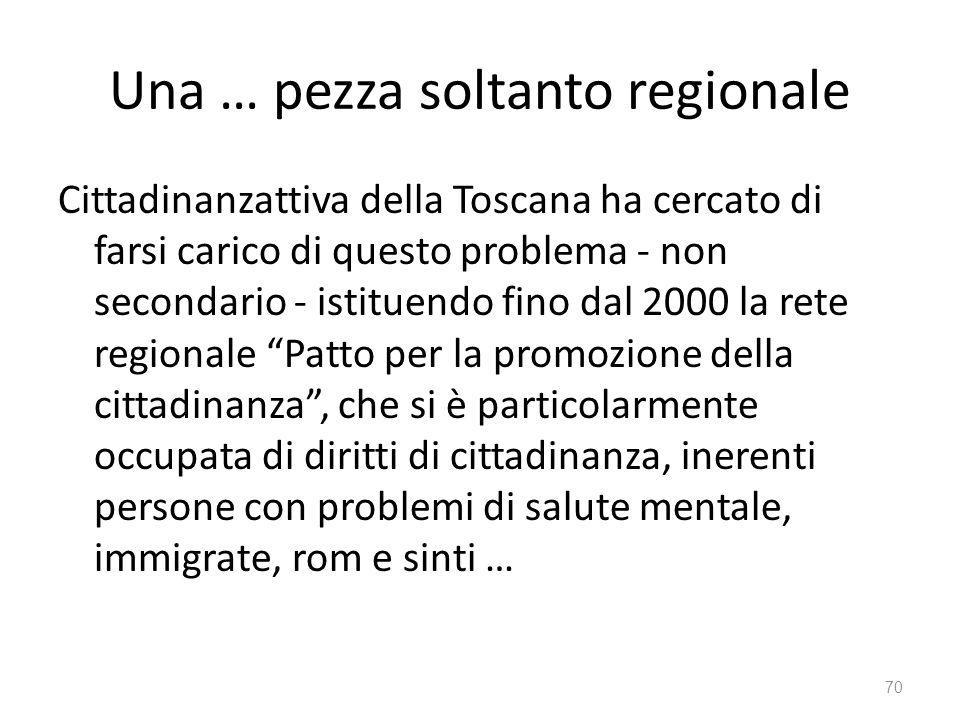 Una … pezza soltanto regionale Cittadinanzattiva della Toscana ha cercato di farsi carico di questo problema - non secondario - istituendo fino dal 20