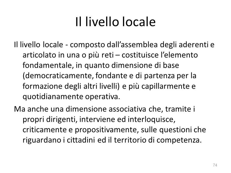 Il livello locale Il livello locale - composto dallassemblea degli aderenti e articolato in una o più reti – costituisce lelemento fondamentale, in qu