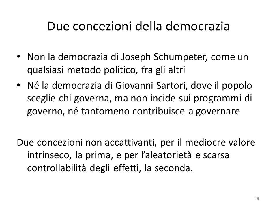 Due concezioni della democrazia Non la democrazia di Joseph Schumpeter, come un qualsiasi metodo politico, fra gli altri Né la democrazia di Giovanni