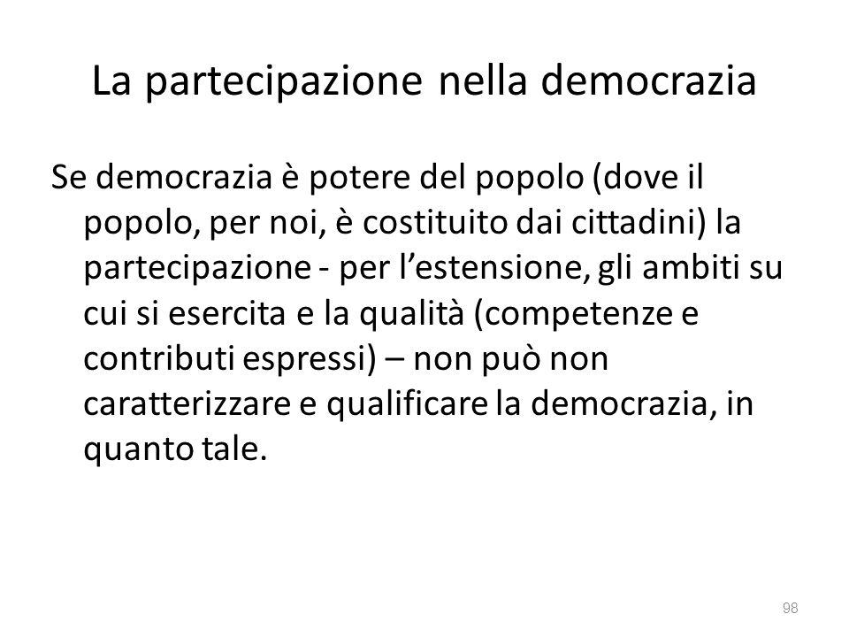 La partecipazione nella democrazia Se democrazia è potere del popolo (dove il popolo, per noi, è costituito dai cittadini) la partecipazione - per les