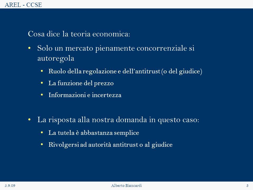 AREL - CCSE 5.9.09Alberto Biancardi3 Cosa dice la teoria economica: Solo un mercato pienamente concorrenziale si autoregola Ruolo della regolazione e