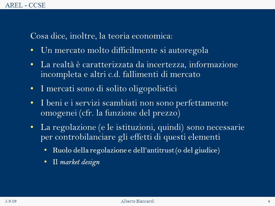 AREL - CCSE 5.9.09Alberto Biancardi4 Cosa dice, inoltre, la teoria economica: Un mercato molto difficilmente si autoregola La realtà è caratterizzata da incertezza, informazione incompleta e altri c.d.