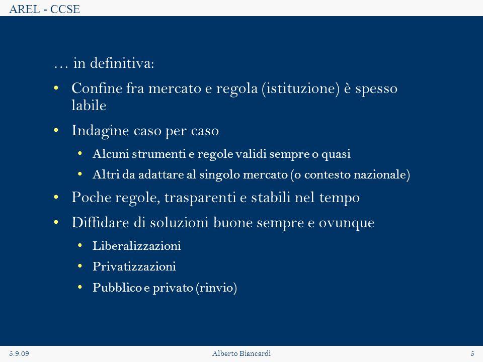 AREL - CCSE 5.9.09Alberto Biancardi5 … in definitiva: Confine fra mercato e regola (istituzione) è spesso labile Indagine caso per caso Alcuni strumen
