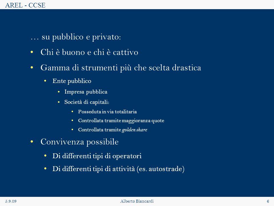 AREL - CCSE 5.9.09Alberto Biancardi6 … su pubblico e privato: Chi è buono e chi è cattivo Gamma di strumenti più che scelta drastica Ente pubblico Imp