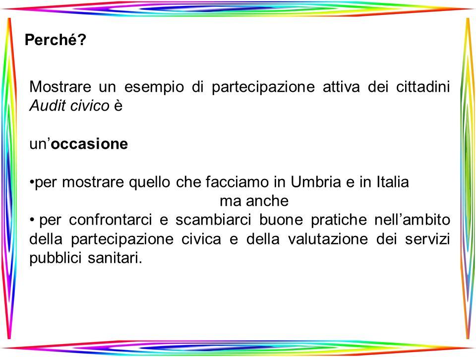 Mostrare un esempio di partecipazione attiva dei cittadini Audit civico è unoccasione per mostrare quello che facciamo in Umbria e in Italia ma anche per confrontarci e scambiarci buone pratiche nellambito della partecipazione civica e della valutazione dei servizi pubblici sanitari.