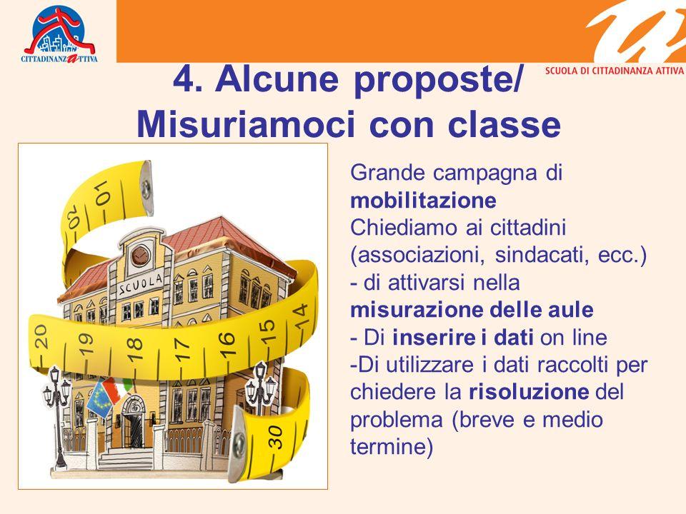 4. Alcune proposte/ Misuriamoci con classe Grande campagna di mobilitazione Chiediamo ai cittadini (associazioni, sindacati, ecc.) - di attivarsi nell