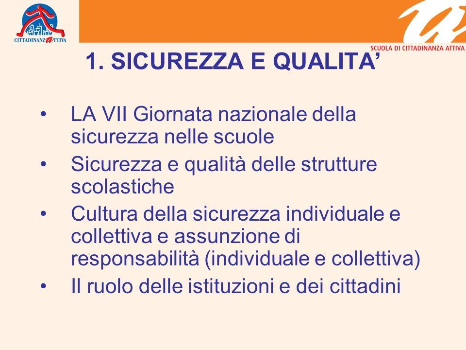 1. SICUREZZA E QUALITA LA VII Giornata nazionale della sicurezza nelle scuole Sicurezza e qualità delle strutture scolastiche Cultura della sicurezza