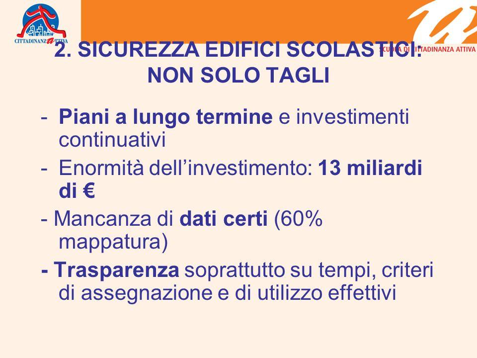 2. SICUREZZA EDIFICI SCOLASTICI: NON SOLO TAGLI -Piani a lungo termine e investimenti continuativi -Enormità dellinvestimento: 13 miliardi di - Mancan