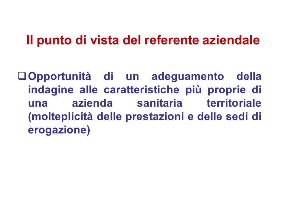 Il punto di vista del referente aziendale Opportunità di un adeguamento della indagine alle caratteristiche più proprie di una azienda sanitaria territoriale (molteplicità delle prestazioni e delle sedi di erogazione)