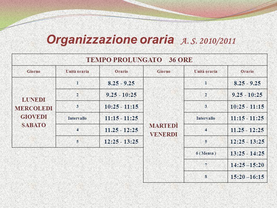 Organizzazione oraria A. S.