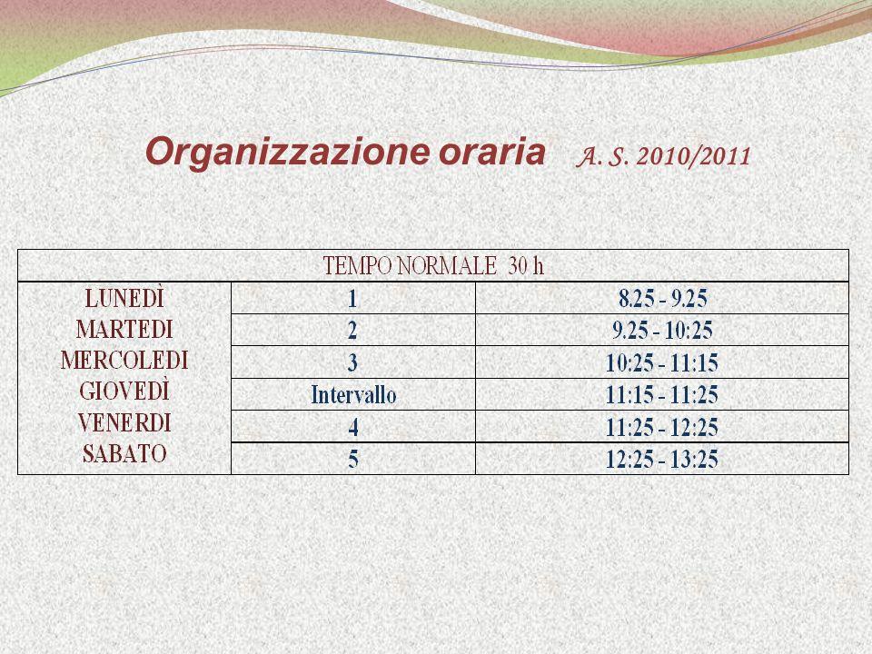 Organizzazione oraria A. S. 2010/2011