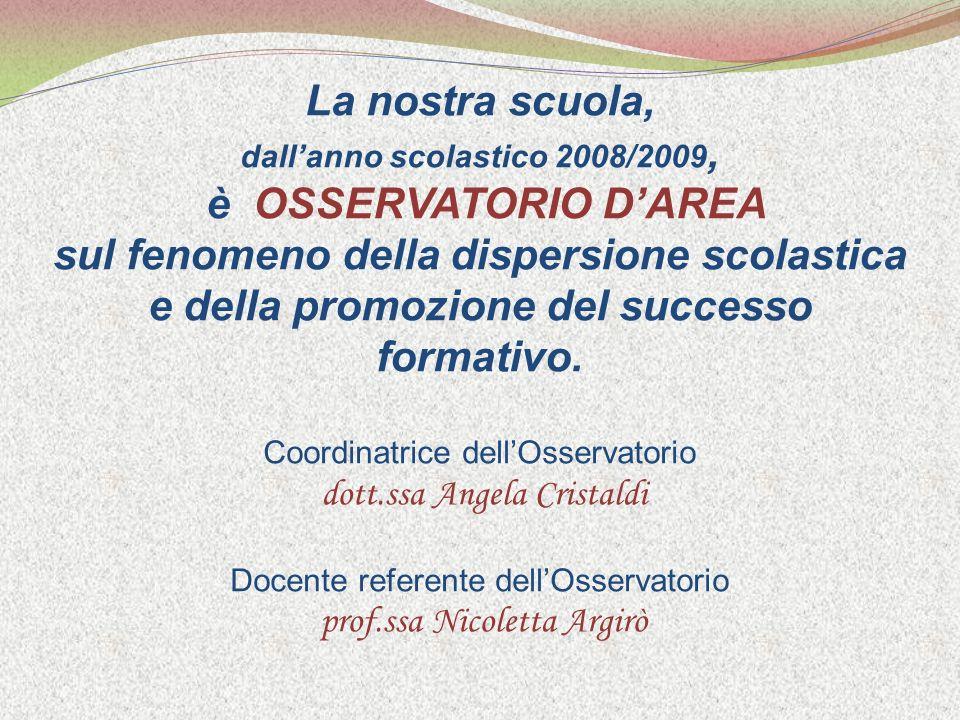 La nostra scuola, dallanno scolastico 2008/2009, è OSSERVATORIO DAREA sul fenomeno della dispersione scolastica e della promozione del successo formativo.