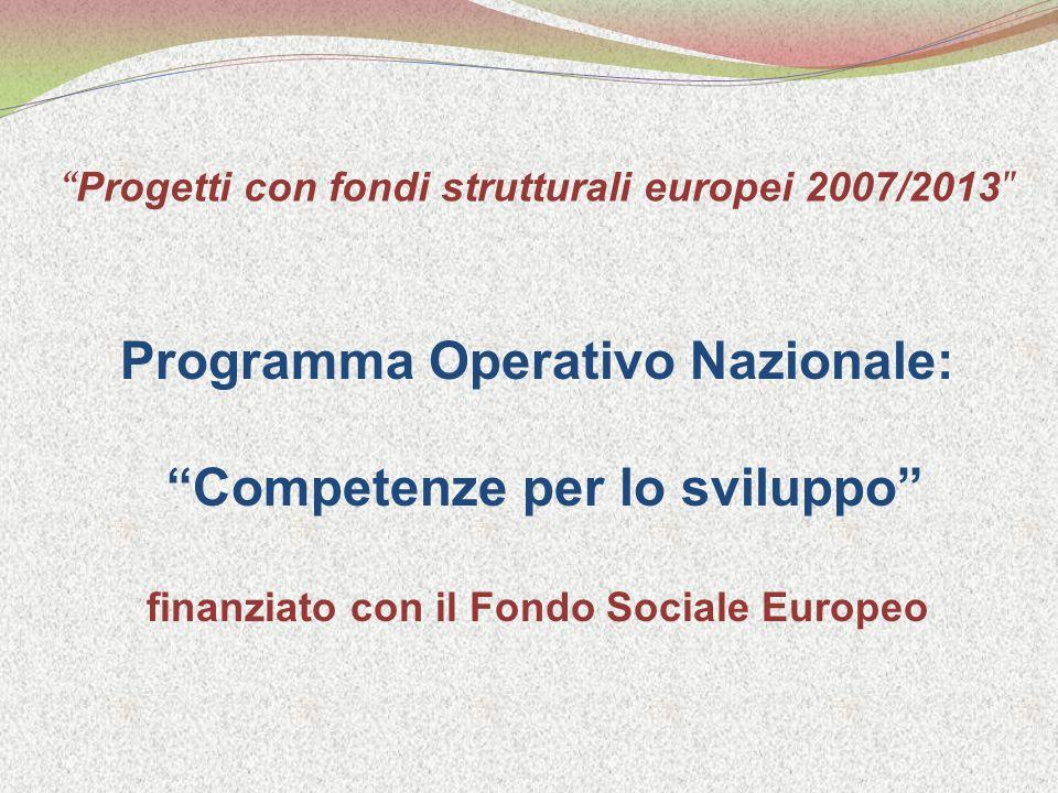 Progetti con fondi strutturali europei 2007/2013 Programma Operativo Nazionale: Competenze per lo sviluppo finanziato con il Fondo Sociale Europeo