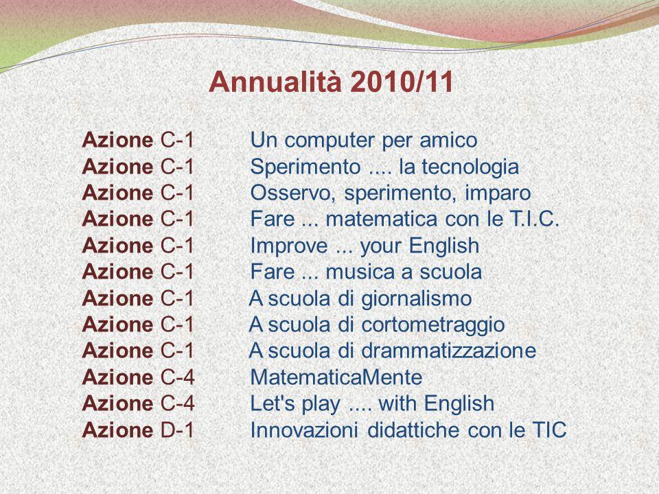 Azione C-1 Un computer per amico Azione C-1 Sperimento....