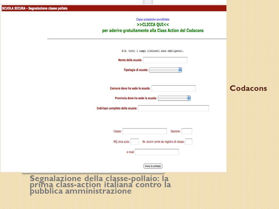 Codacons Segnalazione della classe-pollaio: la prima class-action italiana contro la pubblica amministrazione