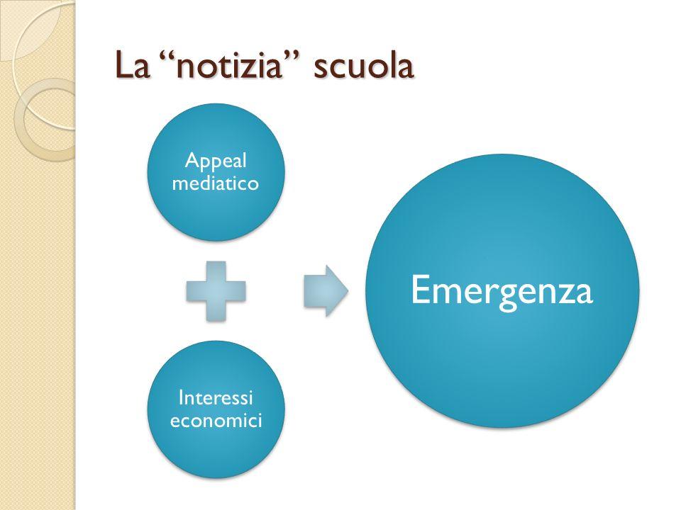 La notizia scuola Appeal mediatico Interessi economici Emergenza