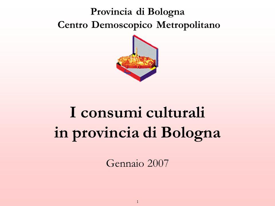 1 Provincia di Bologna Centro Demoscopico Metropolitano I consumi culturali in provincia di Bologna Gennaio 2007