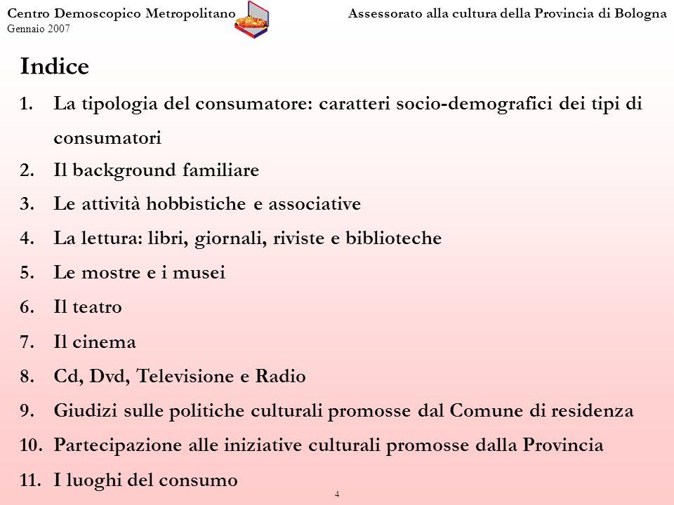 85 I consumi culturali Centro Demoscopico MetropolitanoAssessorato alla cultura della Provincia di Bologna Gennaio 2007 Dotazione culturale dellarea bolognese (valori percentuali sul totale degli intervistati; n = 1.500) 73,5 5,4 Non so/non risponde = 21,1