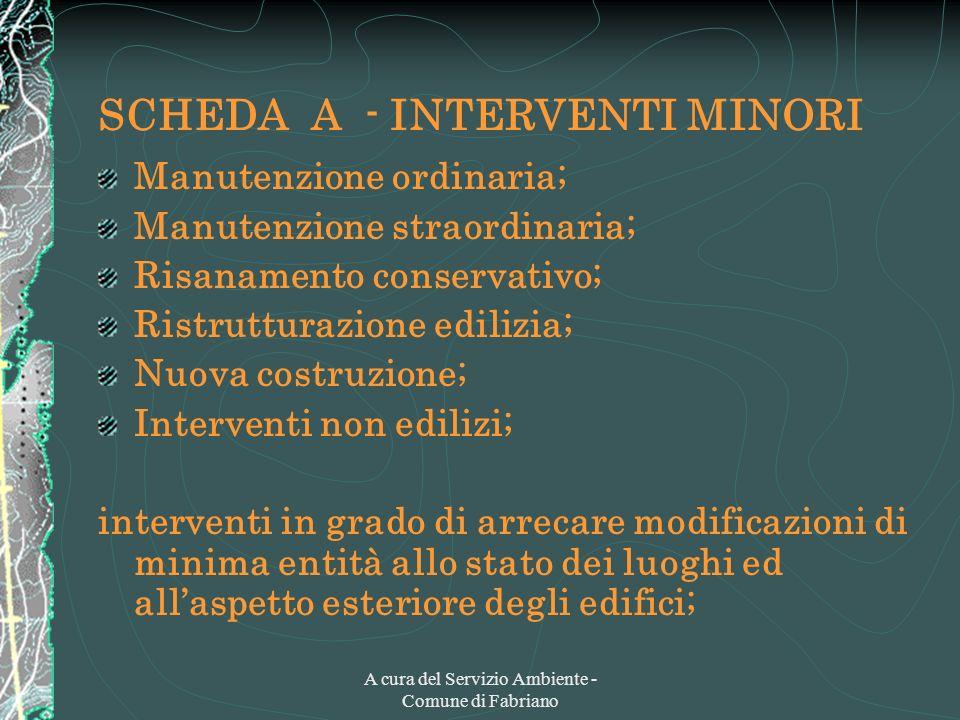 A cura del Servizio Ambiente - Comune di Fabriano SCHEDA A - INTERVENTI MINORI Manutenzione ordinaria; Manutenzione straordinaria; Risanamento conserv