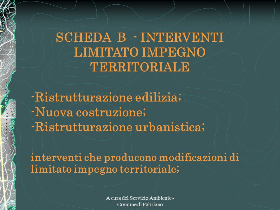 A cura del Servizio Ambiente - Comune di Fabriano SCHEDA B - INTERVENTI LIMITATO IMPEGNO TERRITORIALE -Ristrutturazione edilizia; -Nuova costruzione;