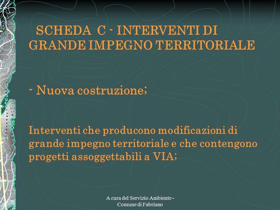 A cura del Servizio Ambiente - Comune di Fabriano SCHEDA C - INTERVENTI DI GRANDE IMPEGNO TERRITORIALE - Nuova costruzione; Interventi che producono m