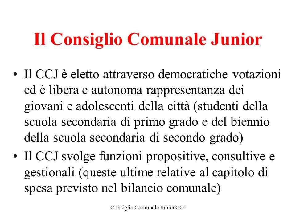 Consiglio Comunale Junior CCJ Il Consiglio Comunale Junior Il CCJ è eletto attraverso democratiche votazioni ed è libera e autonoma rappresentanza dei