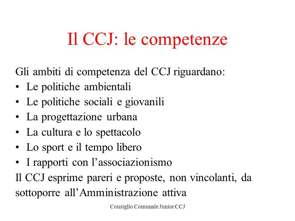 Consiglio Comunale Junior CCJ Il CCJ: le competenze Gli ambiti di competenza del CCJ riguardano: Le politiche ambientali Le politiche sociali e giovan