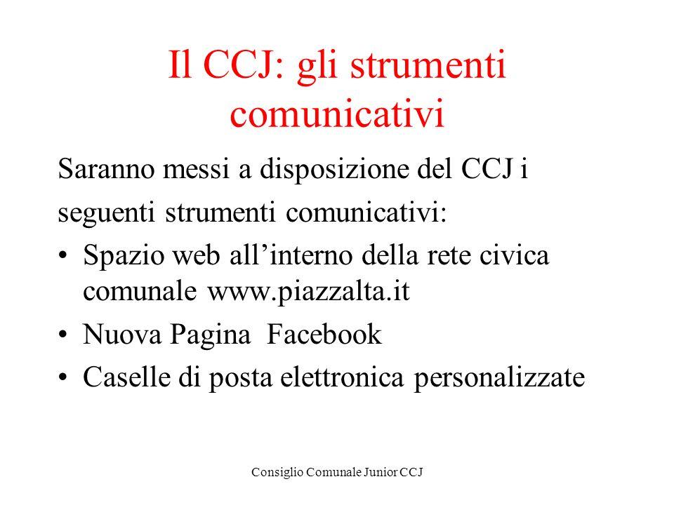 Consiglio Comunale Junior CCJ Il CCJ: gli strumenti comunicativi Saranno messi a disposizione del CCJ i seguenti strumenti comunicativi: Spazio web al