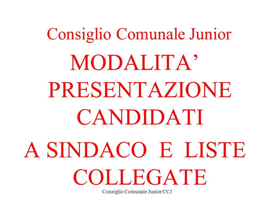 Consiglio Comunale Junior CCJ Consiglio Comunale Junior MODALITA PRESENTAZIONE CANDIDATI A SINDACO E LISTE COLLEGATE