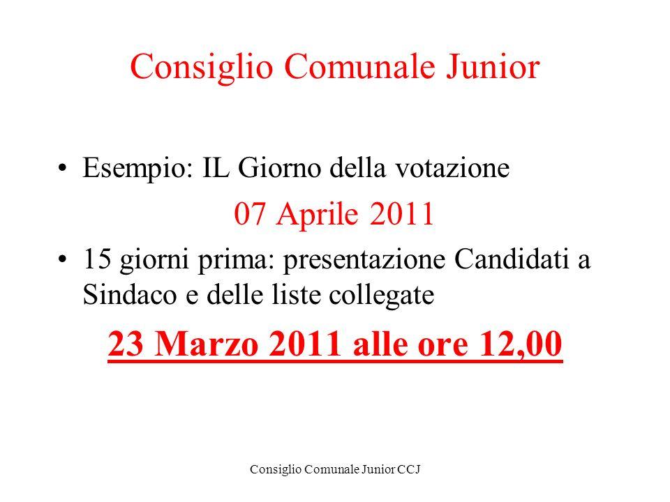 Consiglio Comunale Junior CCJ Consiglio Comunale Junior Esempio: IL Giorno della votazione 07 Aprile 2011 15 giorni prima: presentazione Candidati a S