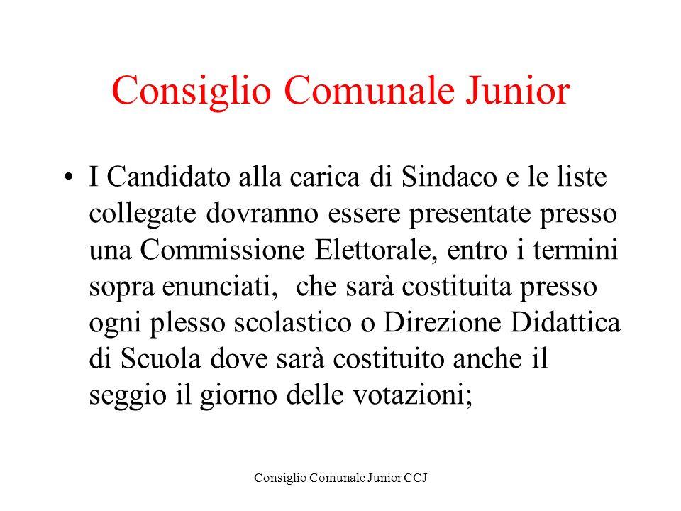 Consiglio Comunale Junior CCJ Consiglio Comunale Junior I Candidato alla carica di Sindaco e le liste collegate dovranno essere presentate presso una